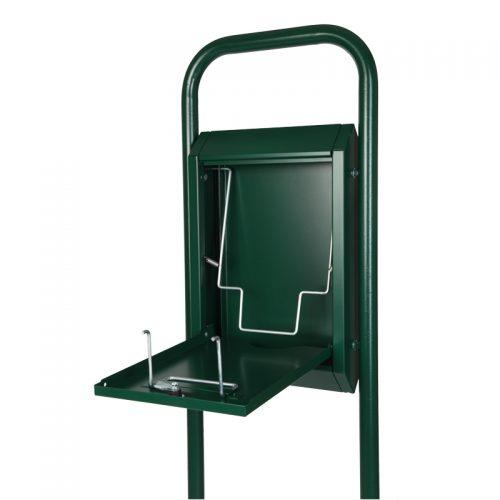 Standard-Combi ohne Abfallbehälter in RAL 6005 Moosgrün, Innenansicht