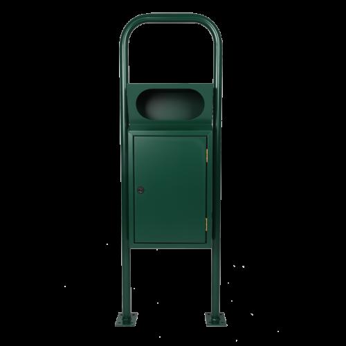 Abfallbehälter Griffloch mit Bügel in RAL 6005 Moosgrün