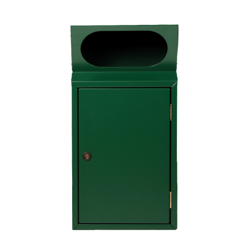 Abfallbehälter Griffloch in RAL 6005 Moosgrün