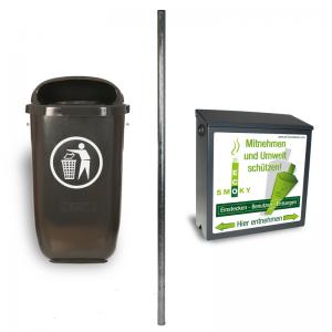 Kombination aus dem EcoSmoky, der 2 m langen Säule und dem Abfallbehälter Flexi