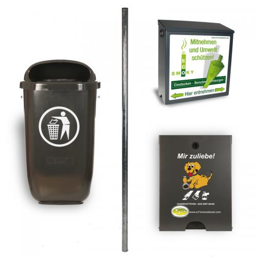 Kombination aus dem EcoSmoky, dem Spender Flexi, der 2 m langen Säule und dem Abfallbehälter Flexi